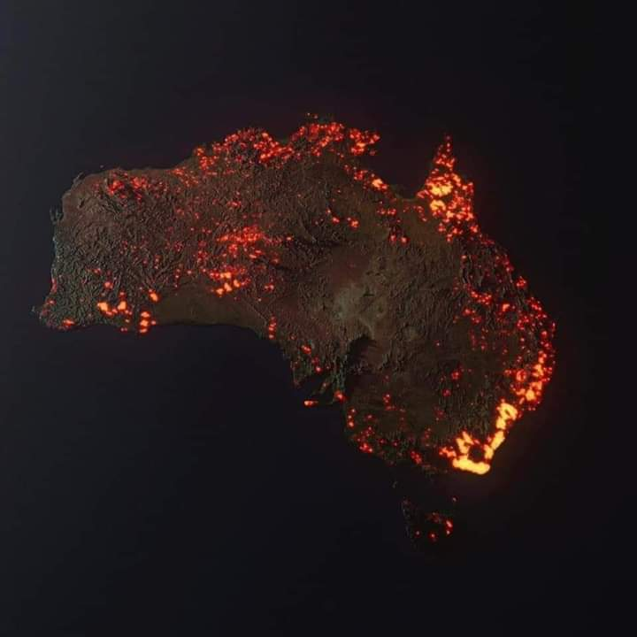 3D Visualisation Of Australian Fires Based On NASA Satellite Data